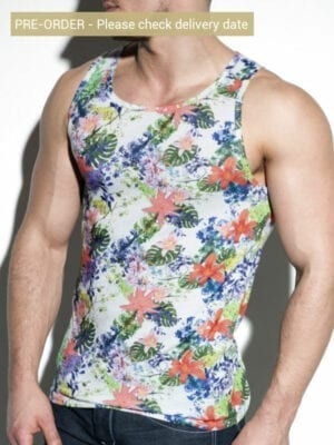 ES Collection Tropic Floral Tank Top TS216 White