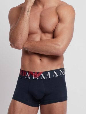 Emporio Armani Stretch Cotton Boxers Maxi Logo 111389 Navy