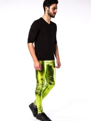 Kapow Poison Apple Meggings Green Metallic