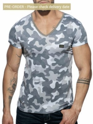 Addicted AD800 Washed Camo T-Shirt Grey