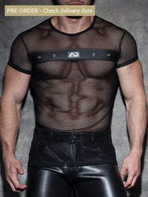 Addicted ADF123 Mesh Mixed T-Shirt Black
